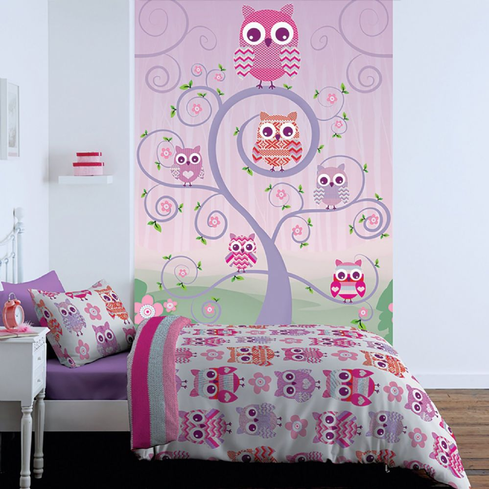 1Wall Pink Owls Kids Large Wall Mural - Free Paste